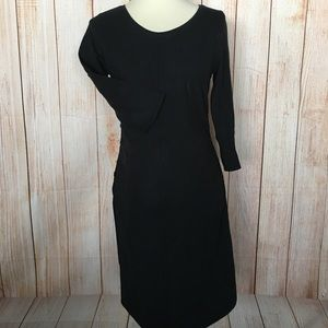 Liz Lange Maternity 3/4 Sleeve Black midi dress XS